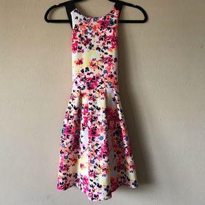 Neon Patterned Criss Cross Back Dress
